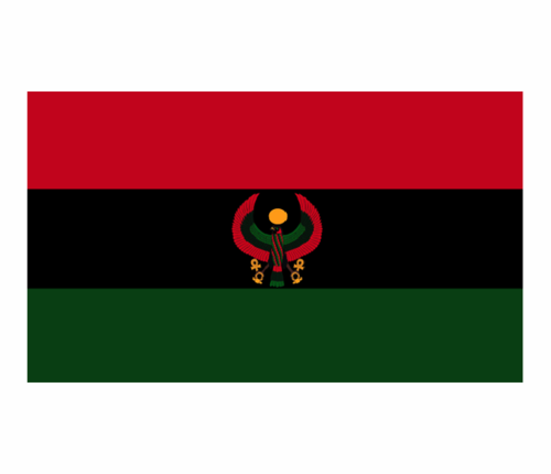 Pan African Flag with Heru Falcon