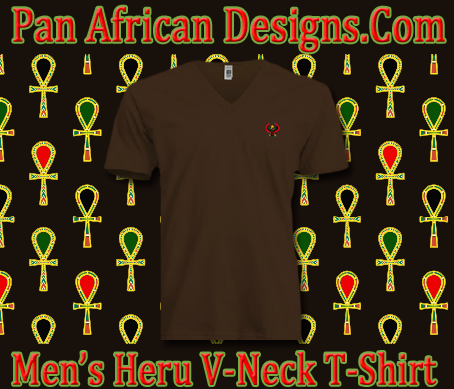 Men/Unisex Brown Heru V-Neck T-Shirt