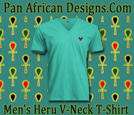 Men/Unisex Turquoise Heru V-Neck T-Shirt