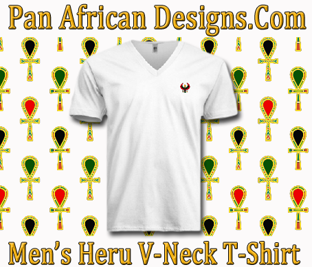 Men/Unisex White Heru V-Neck T-Shirt