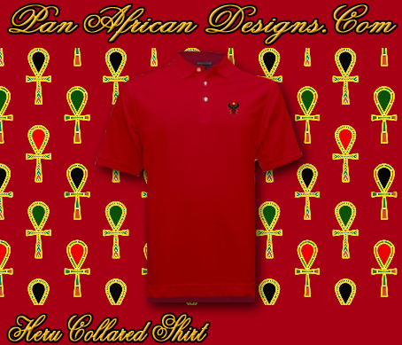 Men Heru Red Collared Shirt