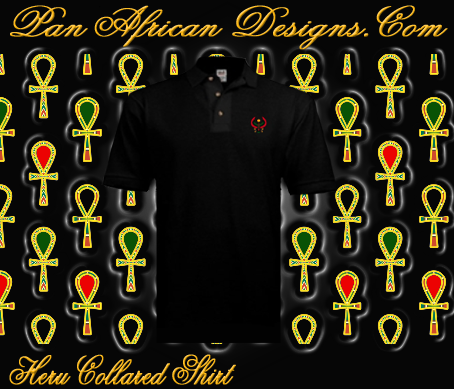 Men Black Heru Collared Shirt