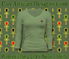 Women Moss Green Heru L/S Sheer V-Neck T-Shirt