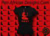 Women's Black and Red Maat T-Shirts with Glitter