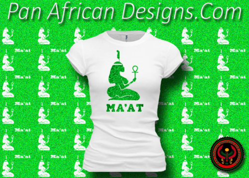 Women's White and Green Maat T-Shirts with Glitter