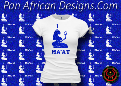 Women's White and Royal Blue Maat T-Shirts with Glitter