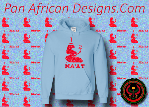 Women's Baby Blue and Red Ma'at Hoodie with Glitter