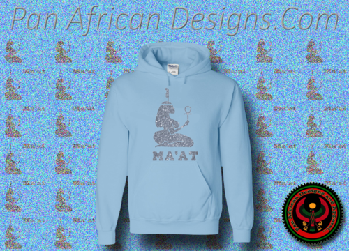Women's Baby Blue and Silver Ma'at Hoodie with Glitter