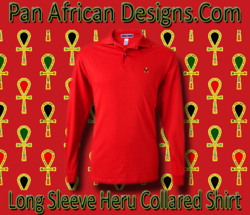 Men's Red Heru Long Sleeve Collared Shirt