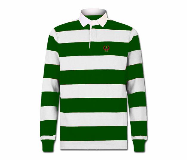 Men s Forest Green and White Collard Heru Rugby Shirt (Long Sleeve ... c1acbfc29