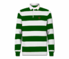Men's Forest Green and White Collard Heru Rugby Shirt (Long Sleeve)
