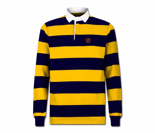 1d5854d1a44 Men's Gold and Navy Blue Collard Heru Rugby Shirt (Long Sleeve ...