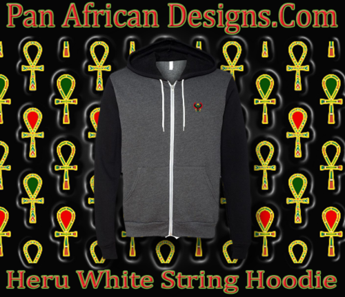 Heather Grey and Black Full Zip White String Heru Hoodie