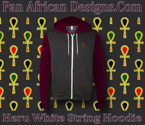 Heather Grey and Maroon Full Zip White String Heru Hoodie