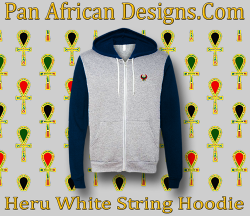 Heather Grey and Navy Blue Full Zip White String Heru Hoodie