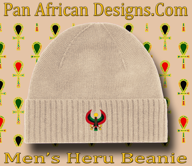 Men s Tan Heru Beanie - Pan African Designs 695186074d9