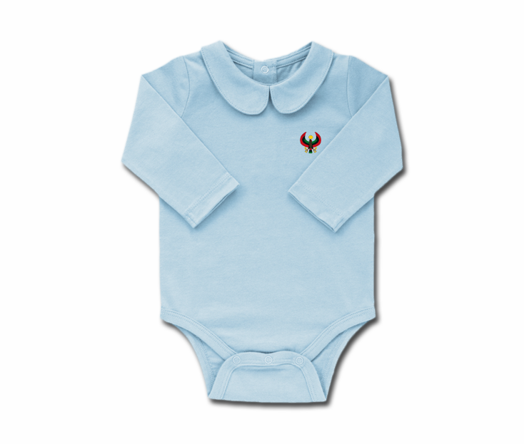 e83c262b3 Girls Sky Blue Toddler Long Sleeve Heru Collar Onesie - Pan African ...