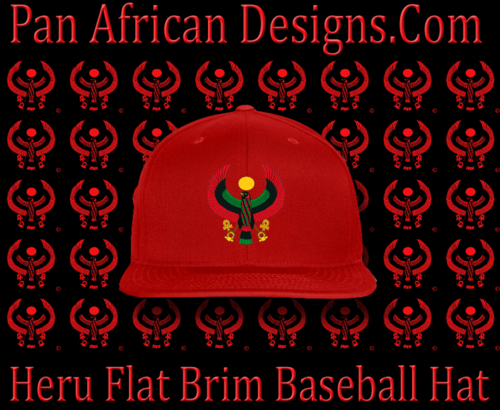 Men's Heru Red Flat Brim Baseball Hat