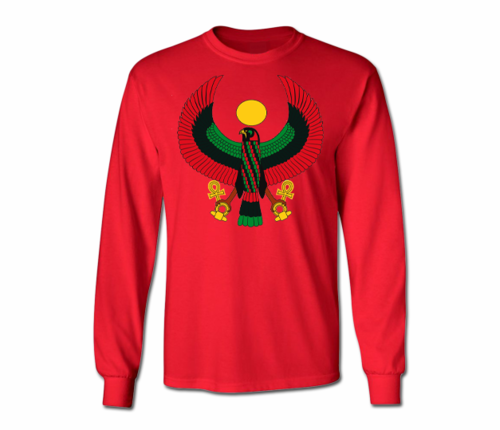 Men's Red Heru Long Sleeve T-Shirts