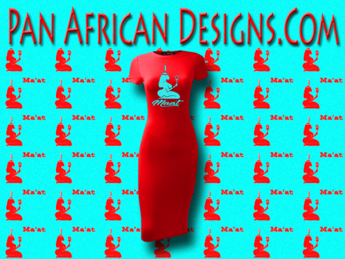 Women's Red with Turquoise Blue Glitter Maat T-Shirt Dress