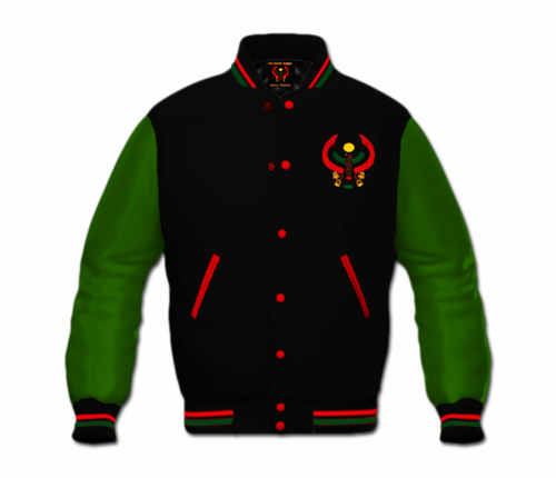 Men's Black and Green Heru Letterman Jacket