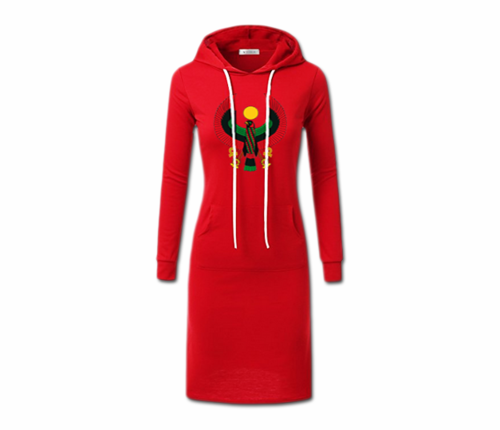 Women's Red with White String Heru Hoodie Dress