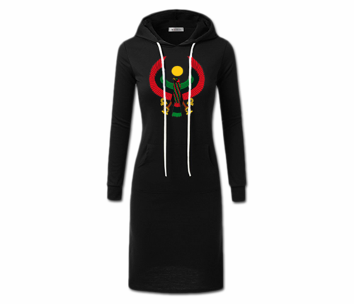 Women's Black with White String Heru Hoodie Dress