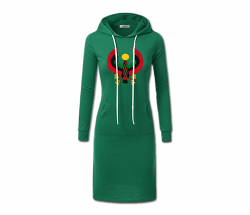 Women's Emerald Green with White String Heru Hoodie Dress