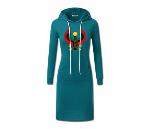 Women's Teal with White String Heru Hoodie Dress