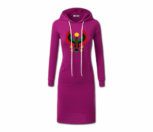 Women's Magneta with White String Heru Hoodie Dress