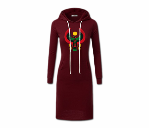 Women's Maroon with White String Heru Hoodie Dress