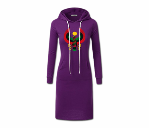 Women's Purple with White String Heru Hoodie Dress