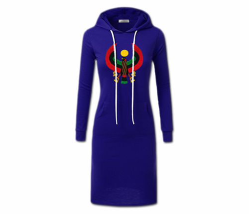 Women's Royal Blue with White String Heru Hoodie Dress