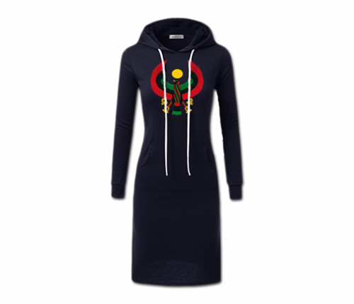 Women's Navy Blue with White String Heru Hoodie Dress