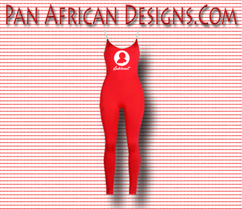 Women's Red Sekhmet (Bodycon) Full Length Jumpsuit with White Spaghetti Strap and side stripes