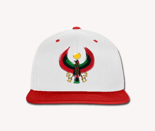 Men's White and Red Heru Snap Back (Flexstyle Logo)