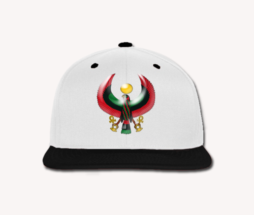 Men's White and Black Heru Snap Back (Flexstyle Logo)