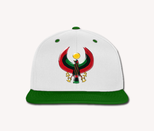 Men's White and Green Heru Snap Back (Flexstyle Logo)