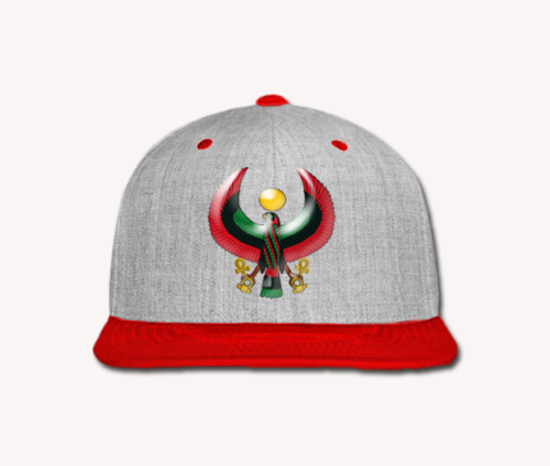 Men's Heather Grey and Red Heru Snap Back (Flexstyle Logo)