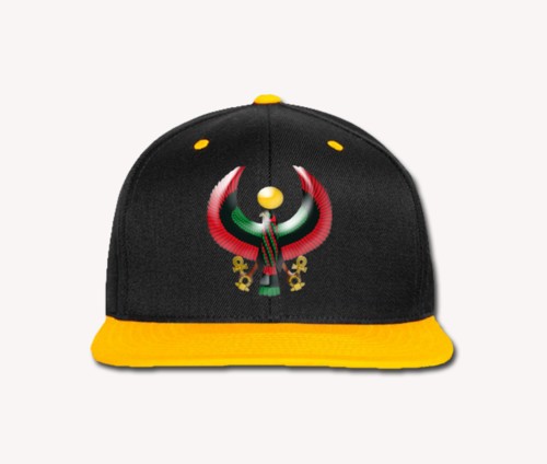 Men's Black and Gold Heru Snap Back (Flexstyle Logo)