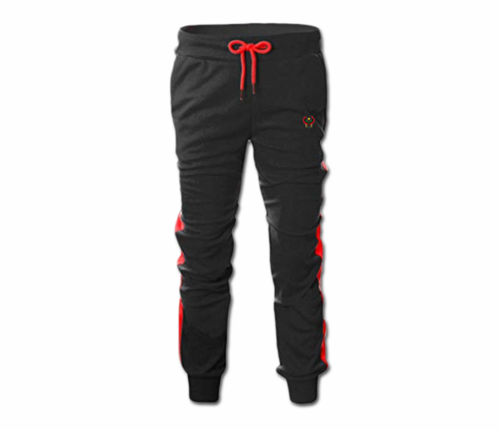Men's Black and Red Heru Slim Fit Lightweight Sweatpant (Tapper Bottom)