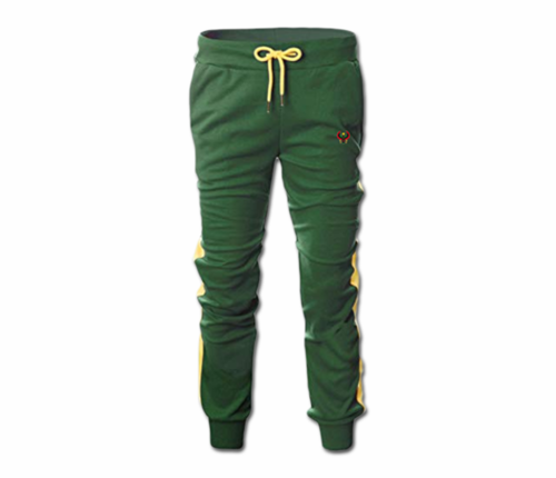 Men's Forest Green and Yellow Heru Slim Fit Lightweight Sweatpant Tapper Bottom