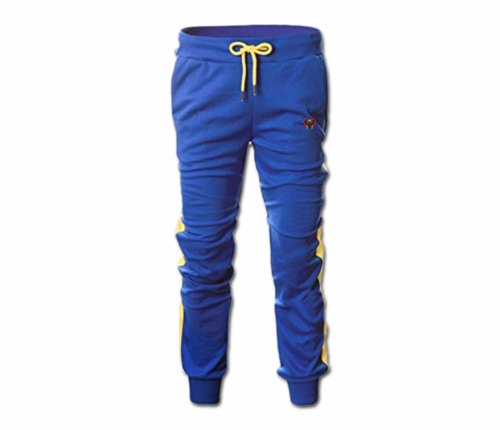 Men's Royal Blue and Yellow Heru Slim Fit Lightweight Sweatpant (Tapper Bottom)