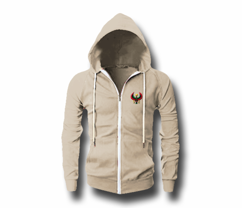 Men's Oatmeal Heru (Flex Logo) Slim Fit Lightweight Hoodie (Long Sleeve,Full Zipper)