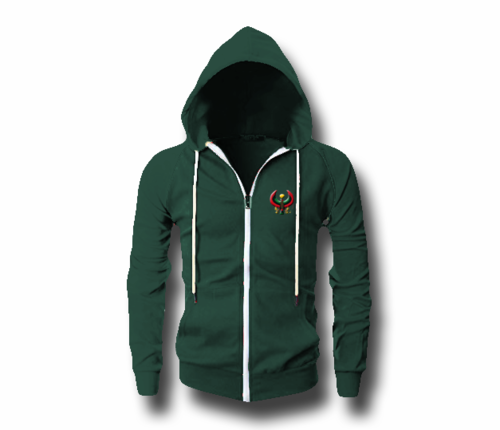 Men's Forest Green Heru (Flex Logo) Slim Fit Lightweight Hoodie (Long Sleeve,Full Zipper)