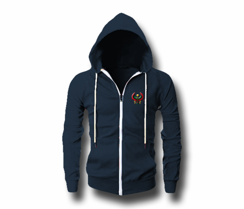 Men's Navy Blue Heru (Flex Logo) Slim Fit Lightweight Hoodie (Long Sleeve,Full Zipper)