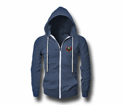 Men's Blue Melange Heru (Flex Logo) Slim Fit Lightweight Hoodie (Long Sleeve,Full Zipper)