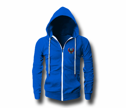 Men's Royal Blue Heru (Flex Logo) Slim Fit Lightweight Hoodie (Long Sleeve,Full Zipper)