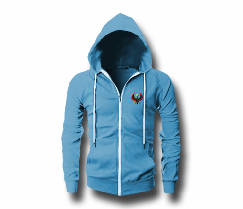 Men's Sky Blue Heru (Flex Logo) Slim Fit Lightweight Hoodie (Long Sleeve,Full Zipper)