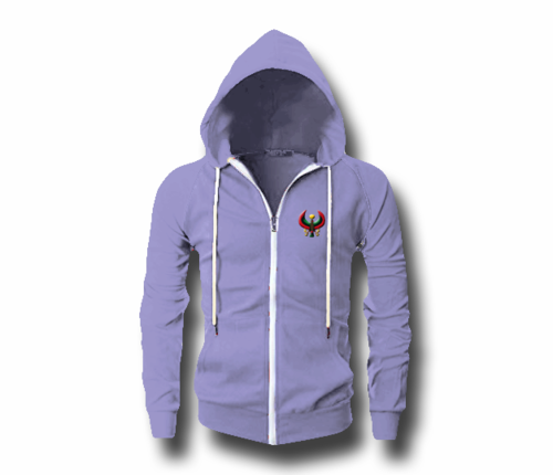 Men's Lavender Heru (Flex Logo) Slim Fit Lightweight Hoodie (Long Sleeve,Full Zipper)